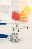 Έννοια των τιμών φαρμάκων Σύνολο φαρμάκων στο καροτσάκι αγορών Στοκ Εικόνα