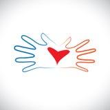 Έννοια των χεριών ζευγών ανδρών & γυναικών που παρουσιάζουν την οικειότητα & αγάπη Στοκ Εικόνες