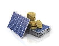 Έννοια των χρημάτων αποταμίευσης εάν ηλιακό πλαίσιο χρήσης στοκ εικόνα