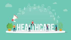 Έννοια υγειονομικής περίθαλψης με τους ανθρώπους ομάδων που απασχολούνται μαζί με το μεγάλα έμβλημα και το εικονίδιο τίτλου κειμέ απεικόνιση αποθεμάτων
