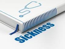 Έννοια υγειονομικής περίθαλψης: στηθοσκόπιο βιβλίων, ασθένεια στο άσπρο υπόβαθρο απεικόνιση αποθεμάτων