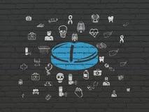 Έννοια υγειονομικής περίθαλψης: Χάπι στο υπόβαθρο τοίχων Στοκ Εικόνες