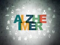 Έννοια υγειονομικής περίθαλψης: Alzheimer στο υπόβαθρο εγγράφου ψηφιακών στοιχείων Διανυσματική απεικόνιση