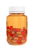 Έννοια υγειονομικής περίθαλψης. Ιατρικό μπουκάλι με τα χάπια Στοκ φωτογραφία με δικαίωμα ελεύθερης χρήσης