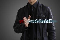 Έννοια δυνατότητας Ο επιχειρηματίας κάνει αδύνατο τον πιθανό Στοκ Εικόνα