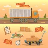 Έννοια υπηρεσιών παράδοσης Παγκόσμιο φορτηγό παράδοσης απεικόνιση αποθεμάτων