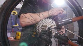 Έννοια υπηρεσιών ποδηλάτων Ένας νεαρός άνδρας επισκευάζει και διατηρεί ένα ποδήλατο στο εργαστήριο απόθεμα βίντεο