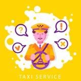 Έννοια υπηρεσιών ταξί με το χαμόγελο του αρσενικού οδηγώντας αυτοκινήτου χαρακτήρα στην ΚΑΠ και ομοιόμορφος Δημόσια αυτόματη μετα διανυσματική απεικόνιση