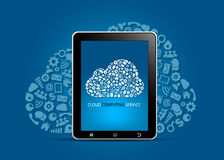 Έννοια υπηρεσιών υπολογισμού σύννεφων διανυσματική απεικόνιση