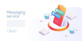 Έννοια υπηρεσιών Mesaging στη isometric διανυσματική απεικόνιση Ηλεκτρονικός αγγελιοφόρος app για το smartphone Webmail ή κινητή  ελεύθερη απεικόνιση δικαιώματος