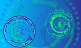 Έννοια υποβάθρου δωματίων ειδήσεων/πράσινα και μπλε κυκλικά γραφικά στοιχεία για την τεχνολογία, υπόβαθρο πληροφορικής Στοκ Εικόνες
