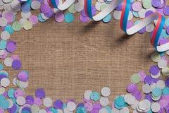 Έννοια υποβάθρου κομμάτων Carnaval Διάστημα για το κείμενο, copyspace Κοβάλτιο Στοκ εικόνα με δικαίωμα ελεύθερης χρήσης