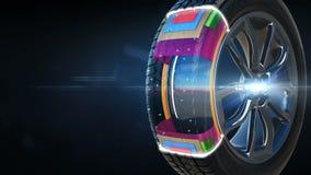 Έννοια υποβάθρου σχεδίου κατασκευής ελαστικών αυτοκινήτου απόθεμα βίντεο