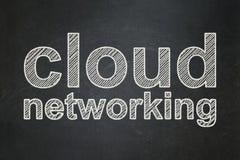 Έννοια υπολογισμού σύννεφων: Δικτύωση σύννεφων στο υπόβαθρο πινάκων κιμωλίας Στοκ Φωτογραφία