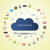Έννοια υπολογισμού σύννεφων με τα εικονίδια Στοκ φωτογραφία με δικαίωμα ελεύθερης χρήσης