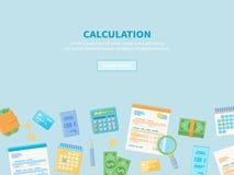 Έννοια υπολογισμού Φορολογική λογιστική Οικονομική ανάλυση, προγραμματισμός, στατιστικές Στοκ Εικόνα