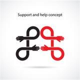 Έννοια υποστήριξης και βοήθειας, έννοια χεριών ομαδικής εργασίας Στοκ Φωτογραφίες