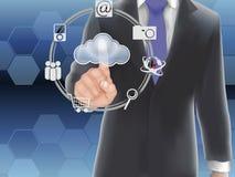 Έννοια υπολογισμού σύννεφων, δάχτυλο σχετικά με Στοκ φωτογραφία με δικαίωμα ελεύθερης χρήσης
