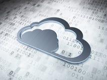 Έννοια υπολογισμού σύννεφων: Ασημένιο σύννεφο σε ψηφιακό Στοκ Φωτογραφία