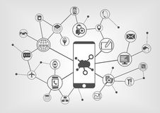Έννοια υπολογισμού σύννεφων για τις συνδεδεμένες κινητές συσκευές Στοκ Φωτογραφίες