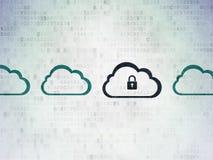 Έννοια υπολογισμού σύννεφων: σύννεφο με το εικονίδιο λουκέτων Στοκ Φωτογραφίες