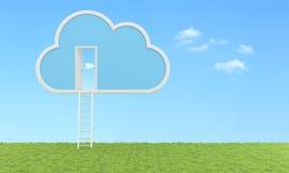 Έννοια υπολογισμού σύννεφων - υπαίθρια έκδοση Στοκ Εικόνες