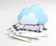 Έννοια υπολογισμού σύννεφων, χρήματα Στοκ Εικόνα