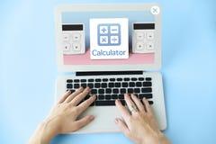 Έννοια υπολογιστών προϋπολογισμών τραπεζικής επένδυσης λογιστικής Στοκ Εικόνα