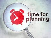 Έννοια υπόδειξης ως προς το χρόνο: Ξυπνητήρι και χρόνος για τον προγραμματισμό με οπτικό Στοκ Εικόνα