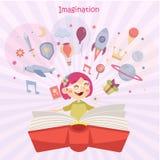 Έννοια φαντασίας, κορίτσι που διαβάζει ένα βιβλίο Διανυσματική απεικόνιση