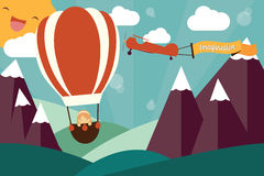 Έννοια φαντασίας - κορίτσι στο μπαλόνι και το αεροπλάνο αέρα Στοκ Εικόνες