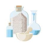 Έννοια φαρμακείων, χημείας ή αλχημείας στο εκλεκτής ποιότητας ύφος Στοκ Εικόνες