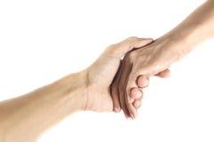 Έννοια φιλίας και αγάπης μεταξύ του ατόμου και woman.isolated στο wh Στοκ Εικόνες