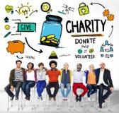 Έννοια φιλανθρωπίας δωρεάς ενότητας ομάδας ανθρώπων Στοκ εικόνα με δικαίωμα ελεύθερης χρήσης