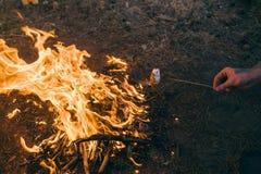 Έννοια φωτιών τουρισμού ζευγών πικ-νίκ Στοκ Φωτογραφίες