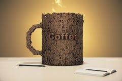 Έννοια φλυτζανιών καφέ με το ημερολόγιο και τη μάνδρα στον πίνακα Στοκ Εικόνες