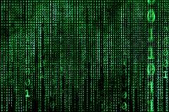 Έννοια χάκερ υπολογιστής δυαδικών κ πράσινο κείμενο στοκ εικόνες
