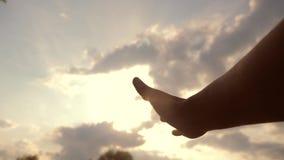 Έννοια χεριών θρησκείας στο υπόβαθρο μπλε ουρανού Το χέρι ατόμων τεντώνει τον τρόπο ζωής στην πίστη και την ευδαιμονία Θεών φιλμ μικρού μήκους