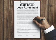 Έννοια χρέους πιστωτικής χρηματοδότησης συμφωνίας δανείου δόσης Στοκ Εικόνες