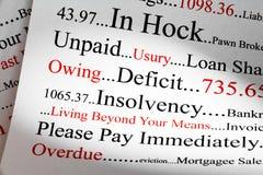 Έννοια χρέους στις λέξεις στοκ εικόνα με δικαίωμα ελεύθερης χρήσης