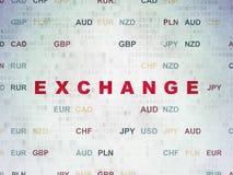 Έννοια χρημάτων: Ανταλλαγή στο υπόβαθρο εγγράφου ψηφιακών στοιχείων στοκ φωτογραφίες
