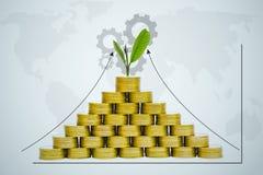 Έννοια χρημάτων αποταμίευσης με την ανάπτυξη σωρών νομισμάτων χρημάτων και εργαλείο για Στοκ Εικόνες