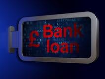 Έννοια χρημάτων: Τραπεζικό δάνειο και λίβρα στο υπόβαθρο πινάκων διαφημίσεων απεικόνιση αποθεμάτων