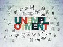 Έννοια χρηματοδότησης: Ανεργία στο υπόβαθρο εγγράφου ψηφιακών στοιχείων Στοκ φωτογραφία με δικαίωμα ελεύθερης χρήσης