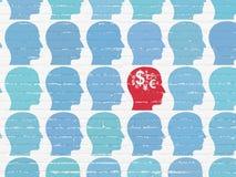 Έννοια χρηματοδότησης: κεφάλι με το εικονίδιο συμβόλων χρηματοδότησης στο υπόβαθρο τοίχων Στοκ φωτογραφία με δικαίωμα ελεύθερης χρήσης