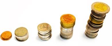 Έννοια χρηματοδότησης: Νόμισμα στο άσπρο υπόβαθρο στοκ φωτογραφία με δικαίωμα ελεύθερης χρήσης