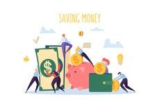 Έννοια χρηματοδότησης χρημάτων αποταμίευσης Οι επίπεδοι χαρακτήρες ανθρώπων συλλέγουν τα χρήματα Τράπεζα Piggy, πλούτος, προϋπολο ελεύθερη απεικόνιση δικαιώματος