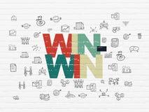 Έννοια χρηματοδότησης: Win-Win στο υπόβαθρο τοίχων Στοκ Φωτογραφίες
