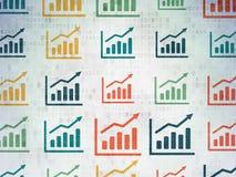 Έννοια χρηματοδότησης: Εικονίδια γραφικών παραστάσεων αύξησης σε ψηφιακό Στοκ Φωτογραφία