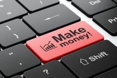 Έννοια χρηματοδότησης: Η γραφική παράσταση αύξησης και κάνει τα χρήματα! στο πληκτρολόγιο Στοκ Φωτογραφία